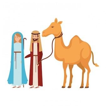 Maagd maria en heilige jozef met kameel