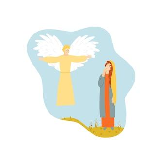 Maagd maria met engel aankondiging bijbel scène geïsoleerd