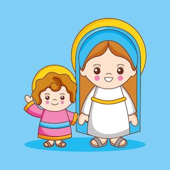 Maagd maria met haar kind god, cartoon afbeelding