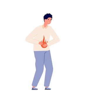 Maagzuur. persoon maagprobleem, gastro-oesofageale reflux of hoge zuurgraad. maagziekte, man opgeblazen buik pijn vectorillustratie. maagzuurprobleem, spijsvertering en buikpijn