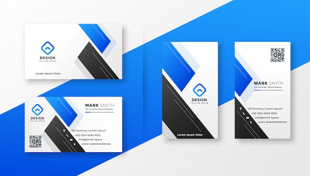Maak blauw visitekaartje modieus ontwerp schoon