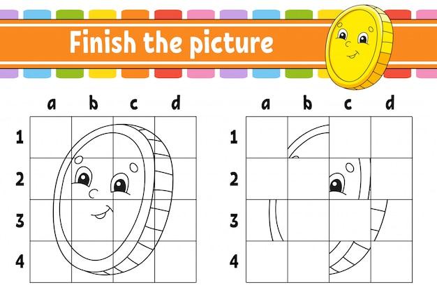 Maak de foto af. gouden munt. kleurboekpagina's voor kinderen. onderwijs ontwikkelt werkblad.