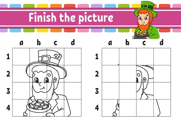 Maak de foto af. kleurboekpagina's voor kinderen. onderwijs ontwikkelt werkblad. kabouter met een pot met goud.