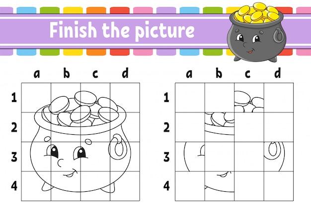 Maak de foto af. kleurboekpagina's voor kinderen. onderwijs ontwikkelt werkblad. pot met goud.
