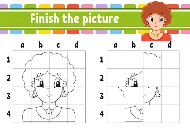 Maak de foto af. kleurboekpagina's voor kinderen. onderwijs werkblad ontwikkelen.