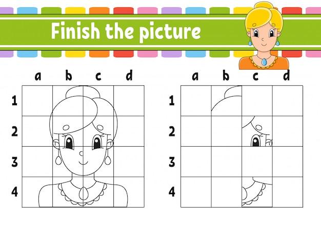 Maak de foto af. kleurboekpagina's voor kinderen.