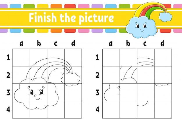 Maak de foto af. magische regenboog. kleurboekpagina's voor kinderen. onderwijs ontwikkelt werkblad.