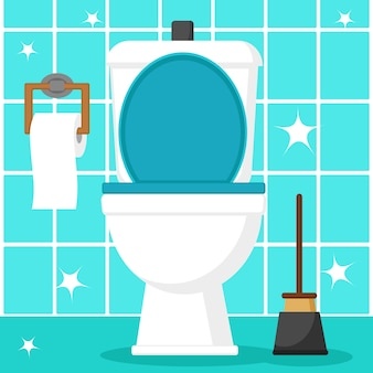 Maak de toiletpot schoon met toiletpapier en een zuiger op een blauwe tegel.