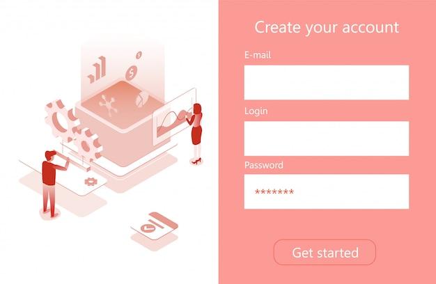 Maak een accountmenu isometrische pagina voor bedrijven