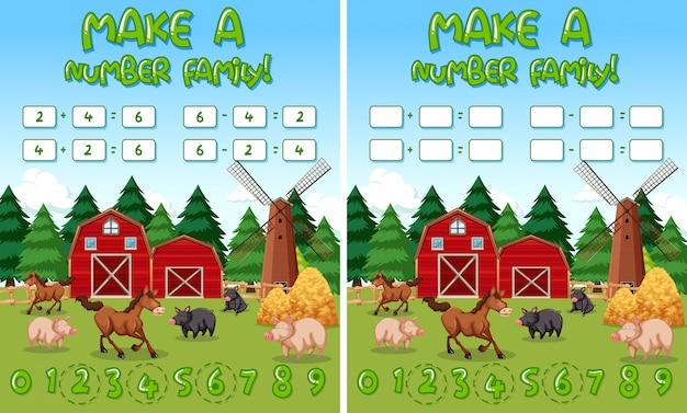 Maak een familieboerderij met nummer