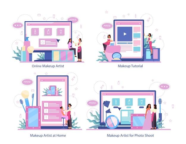 Maak een online service op een andere apparaatset. online videozelfstudie, online visagist. visagiste doet thuis make-up voor een model en voor fotoshoot.