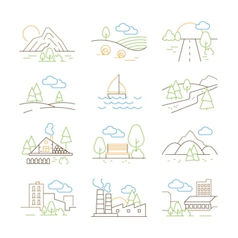 Maak een overzicht van landschappen. dunne lijn bomen bouwen huizen buiten park bergen natuur vector panorama foto's collectie. overzicht landschap, vallei en berg illustratie