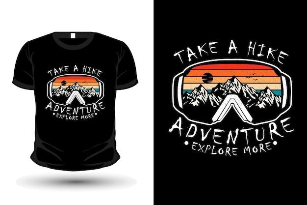 Maak een wandelavontuur ontdek meer merchandise silhouet t-shirt design