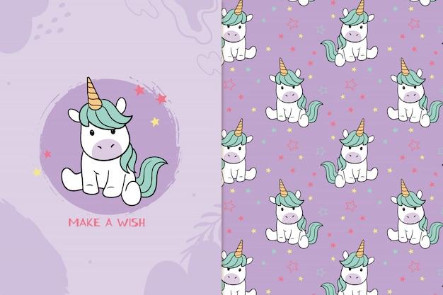 Maak een wens schattig eenhoorn naadloos patroon
