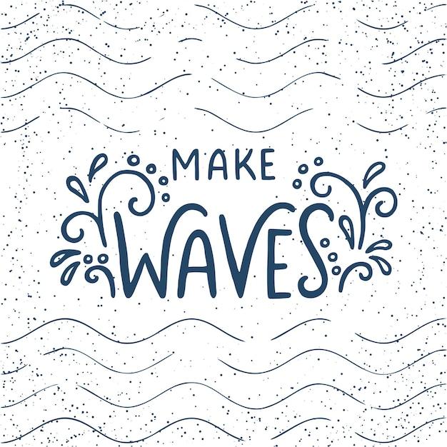 Maak golven met de hand getekende letters met blauwe golvende lijnen op een witte achtergrond