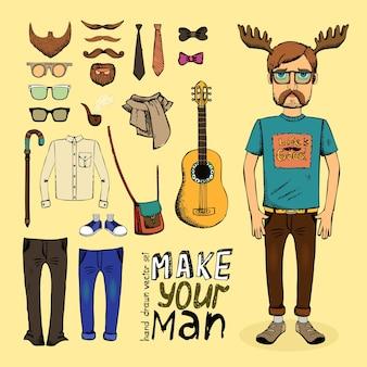 Maak hipster set met broek overhemd tas gitaar en sjaal