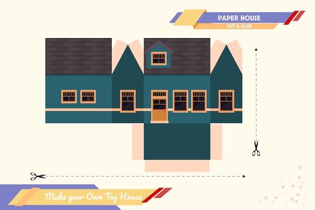 Maak je eigen speelgoedhuis papier ambachtelijke vector assemblagemodel geschikt voor meerdere doeleinden