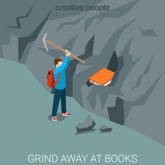 Maal weg bij boeken plat isometrisch