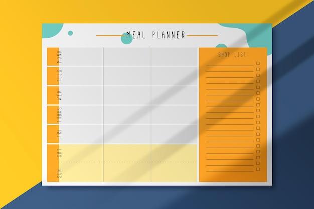 Maaltijd planner kaartsjabloon