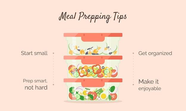 Maaltijd voorbereiding tips horizontale sjabloon