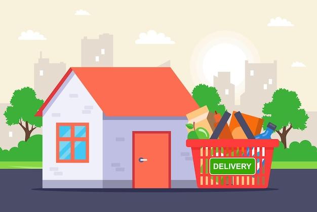 Maaltijdbezorging vanuit de winkel direct bij u thuis. platte vectorillustratie