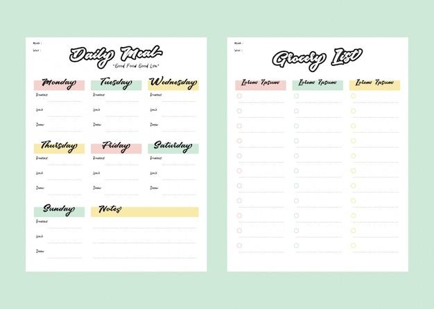 Maaltijdmenu-planner en boodschappenlijst met checklist voor printsjabloon in pastelkleur