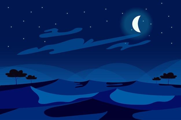 Maan aan de hemel bij nacht woestijnlandschap in platte cartoon stijl