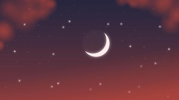 Maan aan de nachtelijke hemel zonsondergang avondlucht sterren Premium Vector