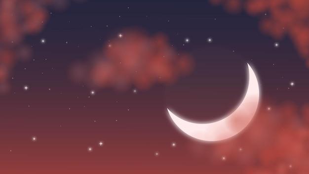 Maan aan de nachtelijke hemel zonsondergang avondlucht sterren