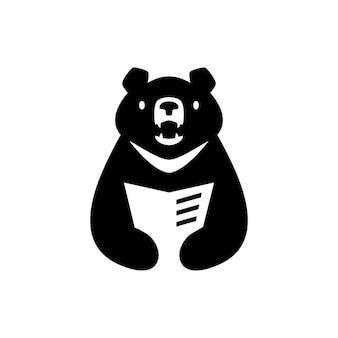 Maan beer zwart vietnam boek lezen krant negatieve ruimte logo vector pictogram illustratie