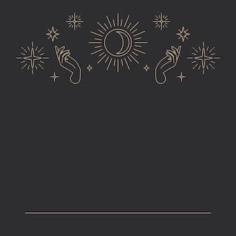 Maan binnenkant van de zon met twee open palm handen hemelse zwarte achtergrond black