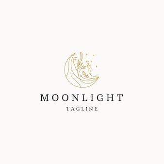 Maan bloem lijn kunst elegante luxe gouden logo pictogram ontwerp sjabloon platte vector