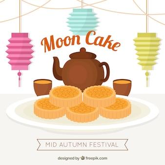 Maan cake achtergrond met thee