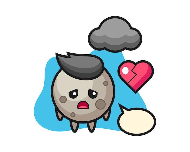 Maan cartoon is gebroken hart