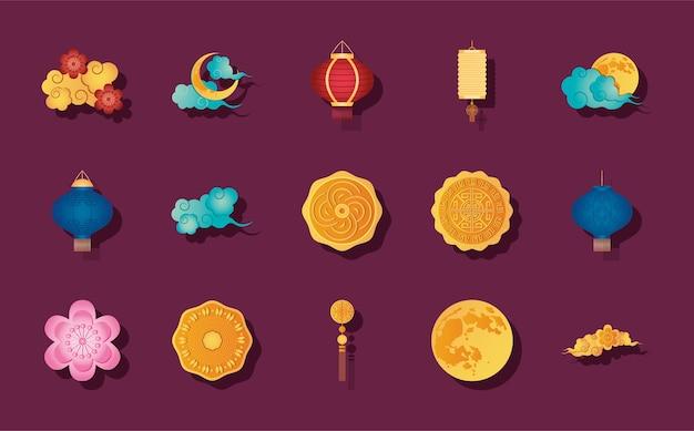 Maan en medio herfst pictogrammenset op paarse achtergrond, gedetailleerde stijl