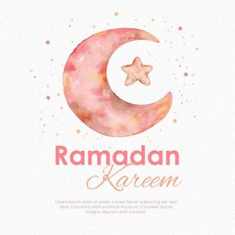 Maan en ster ramadan kareem aquarel