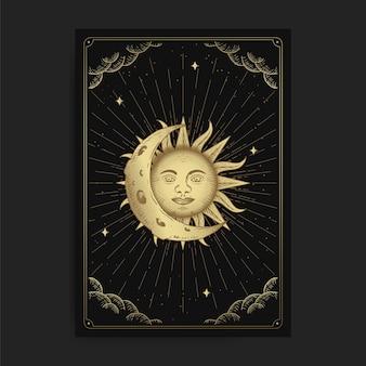 Maan en zon. magische occulte tarotkaarten, esoterische boho spirituele tarotlezer, magische kaart astrologie, spirituele tekening.