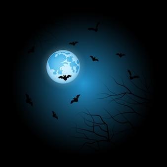 Maan halloween blauwe achtergrond
