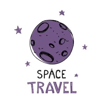 Maan in scandinavische stijl met de woorden ruimtevaart