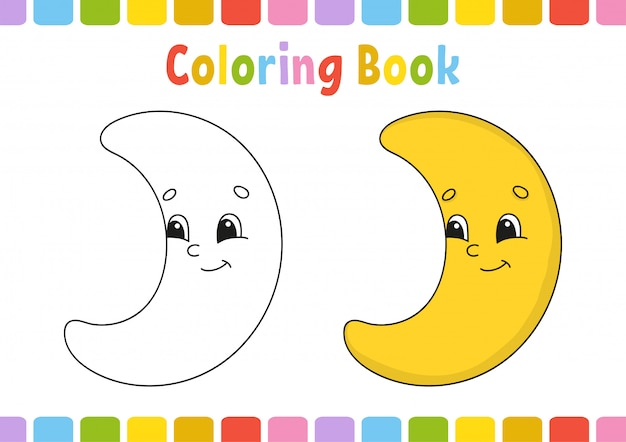 Maan. kleurboek voor kinderen. vrolijk karakter. .