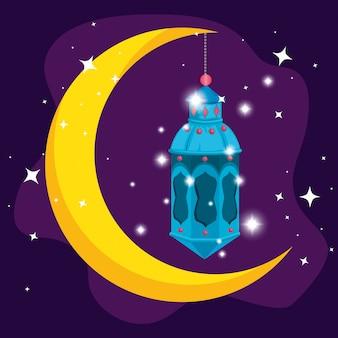 Maan met lamp hangend aan ramadan kareem
