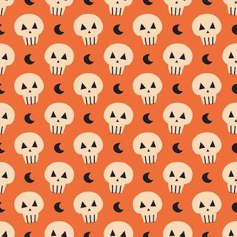 Maan met schedel schattig hand getekende vector naadloze patroon happy halloween day of dead