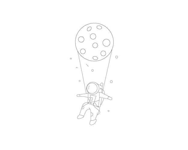 Maan opknoping astronauten ruimtemissie, hand getrokken schets vectorillustratie.