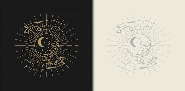 Maan, ster, golf en hand gouden logo, spirituele begeleiding tarotlezer kleurrijk verloop ontwerp. illustratie.