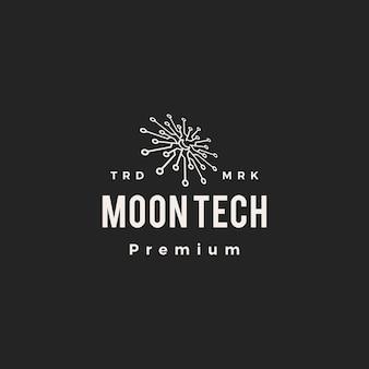 Maan tech halve maan technologie hipster vintage logo pictogram illustratie