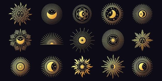 Maan, zon en sterren, hemelse boho-lijnelementen. chique gouden mystieke astrologiesymbolen. minimalistische yoga tattoo en logo ontwerp vector set