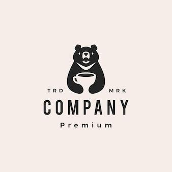 Maan zwarte beer koffie vietnam café hipster vintage logo vector pictogram illustratie