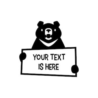 Maan zwarte beer met papier tekst teken logo vector pictogram illustratie