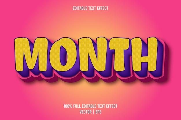 Maand bewerkbaar teksteffect komische stijl roze en paarse kleur