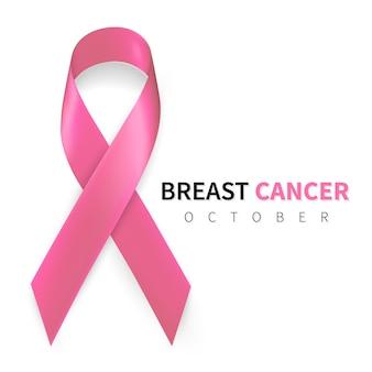 Maand oktober voorlichting over borstkanker. realistisch roze lintsymbool.